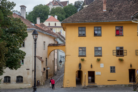 allegedly: SIGHISOARA, ROMANIA - SEPTEMBER 22, 2017: Picture of the house where Vlad Tepes, aka Vlad Dracul or Dracula was allegedly born in the 14th, in Sighisoara castle, in the center of Transylvania  Picture of the house where Vlad Tepes, also known as Dracula,