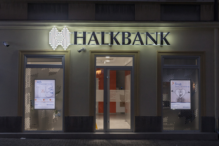 BELGRADE, SERBIA - OCTOBER 10, 2017: Local branch of the Turkish bank Halkbank, which started to open offices in Serbia  Picture of the recently opened local office of Halkbank in Belgrade, Serbia. Halkbank, or Halk Bankasi (Peoples bank in Turkish), is  Editöryel