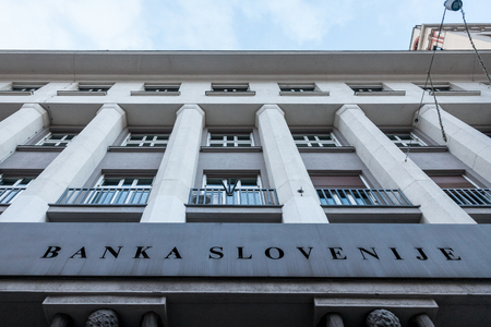 LJUBLJANA, SLOVENIA - DECEMBER 16, 2017: Headquarters of the Slovenian Central Bank (Banka Slovenije) taken during a sunny afternoon  Picture of the main office building of the Slovenian Central Bank (Banka Slovenije - Bank of Slovenia) in the afternoon.