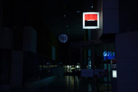 LJUBLJANA, SLOVENIA - DECEMBER 16, 2017: Illuminated logo of Societe Generale on their main office for Slovenia (also called SKB) in downtown Ljubljana. Societe Generale is one of the main banks in Slovenia and in Europe  Picture of the logo of Societe Ge