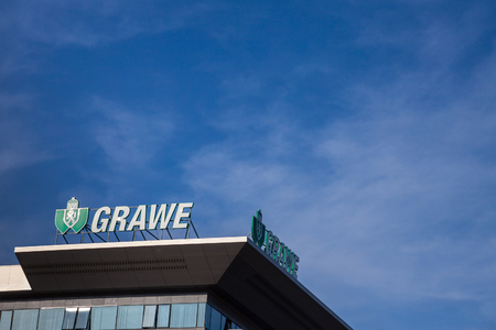 BELGRADE, SERBIA - MARCH 9, 2018: Grawe logo on their main office for Serbia. Grawe, or Grazer Wechselseitige is one of the biggest Austrian insurance companies, spread in Eastern Europe