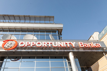 BELGRADE, SERBIA - APRIL 29, 2018: Logo of Opportunity Bank on your Local Headquarters for Serbia. Opportunity International is an NGo specialized in micro loans and microfinance