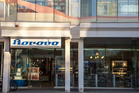 VUKOVAR, CROATIA - MAY 11, 2018: Borovo Shoes Logo on their main shop in Vukovar. Borovo Shoes (Borovo cipele) is the main shoe producer in Croatia, and has a symbol of its economy Editorial