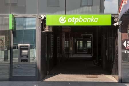 VUKOVAR, CROATIA - MAY 12, 2018: OTP Bank (OTP Banka) logo on their main office for Vukovar. OTP Bank Group is one of the largest Hungarian banks, spread accross in Central and Eastern Europe