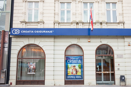 VUKOVAR, CROATIA - MAY 12, 2018: Croatia Insurance on their main agency in Vukovar. Croatia Osiguranje is the oldest and largest insurance company in Croatia, beloning to Adris Grupa