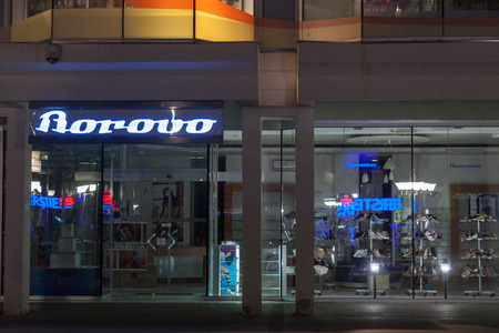 VUKOVAR, CROATIA - MAY 12, 2018: Borovo Shoes Logo on their main shop in Vukovar. Borovo Shoes (Borovo cipele) is the main shoe producer in Croatia, and has a symbol of its economy