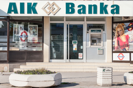 INDJIJA, SERBIA - MAY 20, 2018: AIK Banka logo on their local office in Indjija. Aik Bank is a commercial and retail bank, fully controlled by Serbian capitals