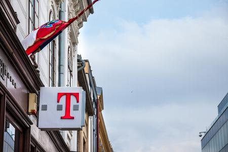 VUKOVAR, CROATIA - FEBRUARY 25, 2018: T Mobile Logo on their main shop in Vukovar. T-Mobile, is one of the mobile network operator in Croatia, belonging to Deutsche Telekom