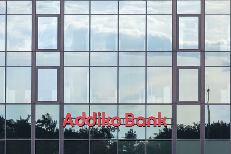 BELGRADE, SERBIA - JUNE 03, 2018: Logo of Addiko Bank on their local headquarters for Serbia. Formerly Hypo Alpe Adria, Addiko is an Austrian banking group spread in Southeastern Europe 에디토리얼
