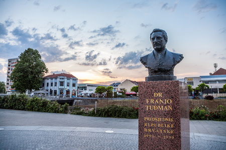 OSIJEK, CROATIA - MAY 12, 2018: Statue of Franjo Tudman in the war torn city of Vukovar. Franjo Tudjman was the first president of Croatia, during the 90's and a key actor of the Yugoslav conflict