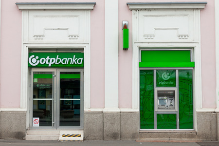 BELGRADE, SERBIA - JUNE 10, 2018: OTP Bank (OTP Banka) logo on their main office for Zemun. OTP Bank Group is one of the largest Hungarian banks, spread accross in Central and Eastern Europe