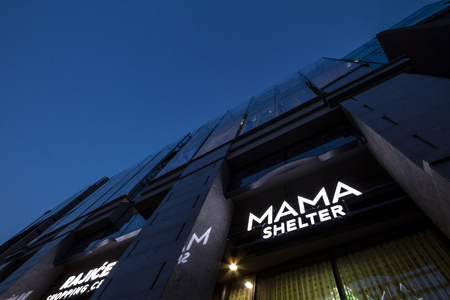 BELGRADE, SERBIA - JUNE 16, 2018: Logo of Mama Shelter at Belgrade. Mama Shelter is a French brand, spread worldwide. Editorial