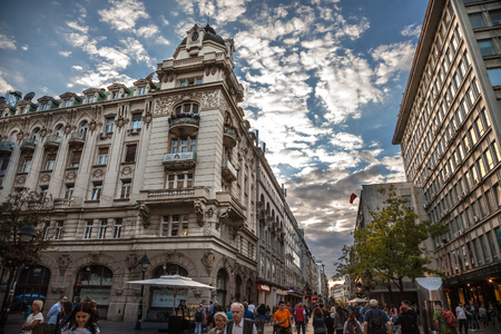 BELGRADE, SERBIA - JUNE 23, 2018: Kneza Mihailova street at dawn, crowded, with Ruski Car cafe in front. Also known as Knez Mihaila, this is the main street and tourist attraction of the city