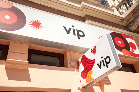 SUBOTICA, SERBIA - JULY 2, 2018: Vipnet Logo on their main shop in Subotica Vip Mobile, or Vipnet, is one of the mobile network operator in Serbia, belongig to Telekom Austria Editorial