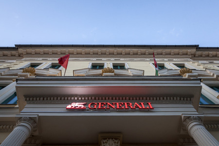 SZEGED, HUNGARY - JULY 3, 2018: Generali Insurance logo on their main office for Szeged. Assicurazioni Generali is the biggest Italian Insurance Company, spread in Central Europe  Picture of the Generali Insurance sign on their headquarters for Szeged in
