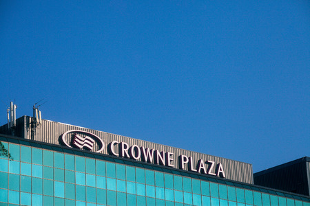 BELGRADE, SERBIA - AUGUST 13, 2018: Crowne Plaza logo on their main hotel in Serbia. Crowne Plaza is a worldwide brand, owner and franchise of luxury hotels  Picture of the Crowne Plaza sign on their hotel in Belgrade, Serbia. Crowne Plaza is an British m
