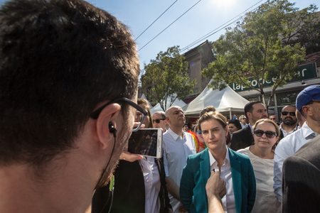 BELGRADE, SERBIA - SEPTEMBER 16, 2018:  Prime Minister of Serbia Ana Brnabic being interviewed on the 2018 edition of Belgrade Gay Pride (Beograd Prajd). Mrs Brnabic is the woman first openly lesbian prime minister in the history of Balkans  Portrait of A Publikacyjne