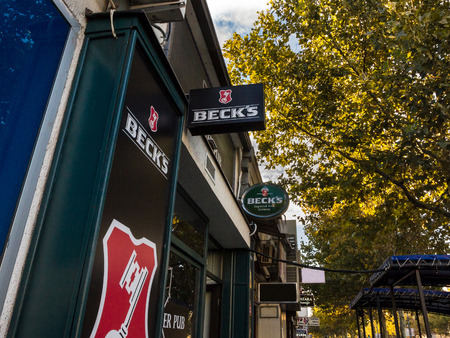 BELGRADE, SERBIA - SEPTEMBER 27, 2018: Logo of Beck's beer on a bar sign with its distinctive visual. Becks is a German light pilsner beer belonging to Interbrew group