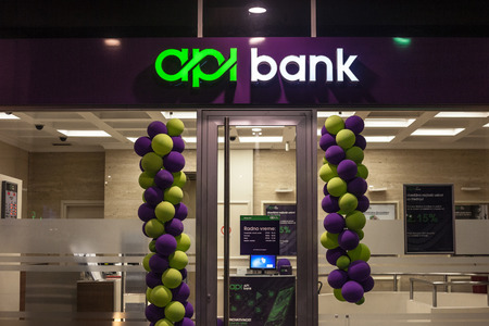 BELGRADE, SERBIA - OCTOBER 28, 2018: API Bank Banka logo on their newly opened office in Belgrade. Held by Russian capitals, APIBank is the newest Serbian bank  picture of the API Bank sign on their newly opened branch for Belgrade, Serbia. APIBank is a S