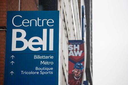 MONTREAL, CANADA - NOVEMBER 3, 2018: Bell Center logo, known as Centre Bell, in front of their main building. It is a sports and entertainent center, home of the Montreal Canadiens ice hockey team