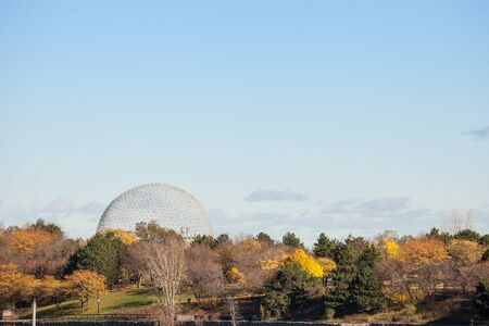 MONTREAL, CANADA - NOVEMBER 4, 2018: Montreal Biosphere, on Ile Sainte Helene Island, in Jean Drapeau park, taken during an autumn afternoon. It is one of the main landmarks of the city Editorial