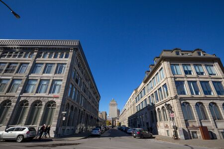 MONTREAL, CANADA - NOVEMBER 4, 2018: Royal Bank skyscraper taken from a nearby street in the district of the Old Montreal, or Vieux Montreal, in the city of Montreal, the main city of Quebec