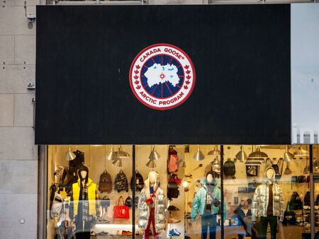 MONTREAL, CANADA - NOVEMBER 5, 2018: Logo Canada Goose Arctic Program on their main shop. Canada Goose is a Canadian Fashion Apparel brand of winter wear and fur coats