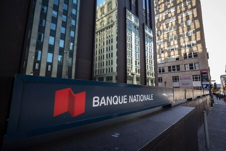 MONTREAL, CANADA - NOVEMBER 4, 2018: Logo of the National Bank of Canada, translated in French Banque Nationale, in Montreal, Quebec. It is one of the largest Canadian banks Editorial