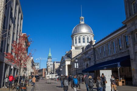 MONTREAL, CANADA - NOVEMBER 4, 2018: Marche Bonsecours in Montreal, Quebec, Canada, during a sunny afternoon. Bonsecours Market is one of the main attractions of Old Montreal, or Vieux Montreal