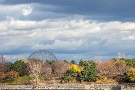 MONTREAL, CANADA - NOVEMBER 7, 2018: Montreal Biosphere, on Ile Sainte Helene Island, in Jean Drapeau park, taken during an autumn afternoon. It is one of the main landmarks of the city