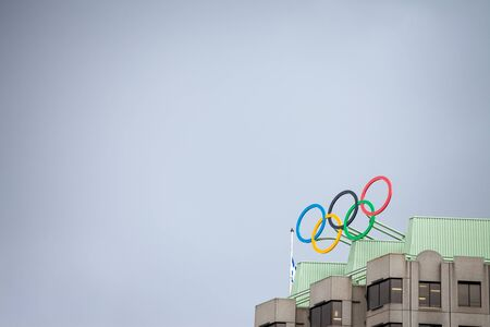 MONTREAL, CANADA - NOVEMBER 7, 2018: Olympic symbol (also known as Olympic Rings) seen on the Montreal olympic Committee building. Montreal became an olympic city with the 1976 Summer Olympic Games
