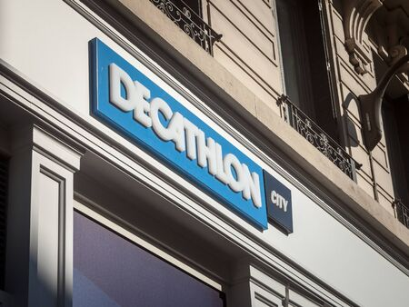 LYON, FRANCE - JULY 13, 2019: Decathlon logo in front of their local store in downtown Lyon. Decathlon is a French sporting goods, and sports fashion and accessories retailer