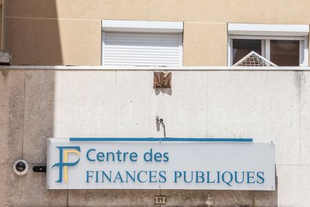 LYON, FRANCE - JULY 17, 2019: Direction Generale des Finances Publiques logo on their local office in Lyon. Also called DGIP, it is the French government adminstration in charge of public financePicture of the local office of Direction Generale des Fina