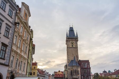 Panorama of Old Town Square (Staromestske Namesti) with a focus on the clock tower of Old Town Hall Reklamní fotografie
