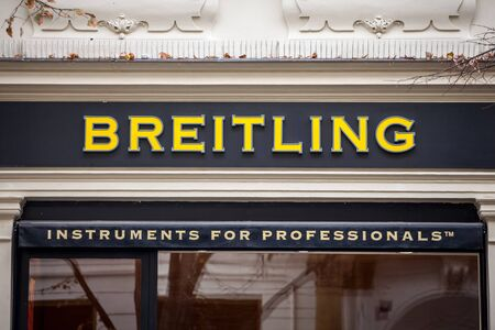 PRAGUE, CZECHIA - NOVEMBER 1, 2019: Breitling logo on their jewelry boutique in Prague. Breitling is a Swiss luxury watchmaker famous for chronographs and watches used in the aviation sector.