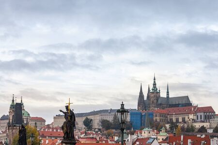 Panorama of the Old Town of Prague, Czech Republic, with a focus on Hradcany hill and the Prague Castle with the St Vitus Cathedral (Prazsky hill) seen from the Vltava river. It is the main landmark of the city.