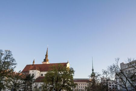 Panorma of Moravske namesti Square and St Thomas Church, also called Kostel Svateho Tomase in the historical center of Brno, Czech Republic.