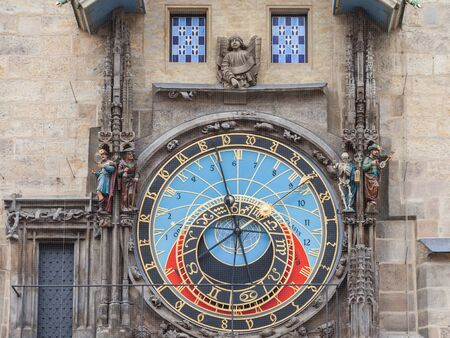 Prague Astronomical clock (Prazsky orloj) on display on the old city hall (Staromestska Radnice) of Prague, Czech Republic.