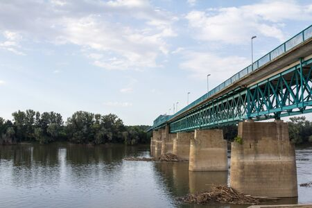 Steel bridge crossing the Sava river between Brcko and Gunja, at the border between Bosnia and Herzegovina and Croatia, an official border crossing of the European Union (EU).