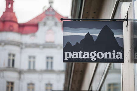 PRAGUE, CZECHIA - NOVEMBER 1, 2019: Patagonia logo in front of their store in Prague. Patagonia is an American brand of outdoor fashion, sportswear and sports gear.