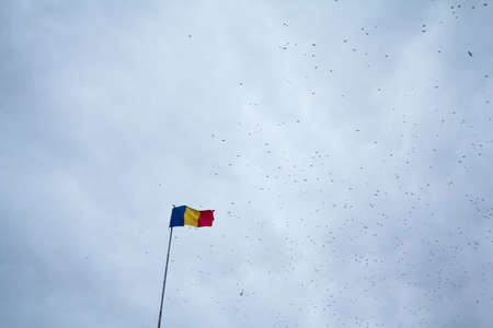 Flag of Romania, also called Drapelul Romaniei waiving on a flagpole of Bucharest, in front of a gray cloudy sky with black birds flying. Imagens