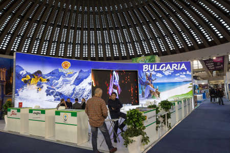 BELGRADE, SERBIA - FEBRUARY 24, 2019: Stand in Belgrade promoting Bulgaria as a touristic destination held by the Bulgarian tourism organization, in charge of advocating for Bulgaria.