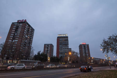 BELGRADE, SERBIA - DECEMBER 30, 2018: High rise buildings from the district of Blok 21 in Novi Beograd, a traditional communist housing ensemble with a brutalist style. .
