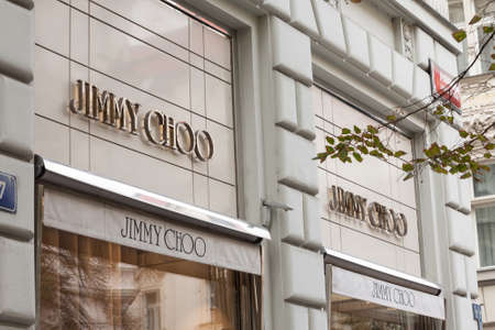 PRAGUE - CZECHIA - NOVEMBER 1, 2019: Jimmy Choo logo in front of their boutique in Prague