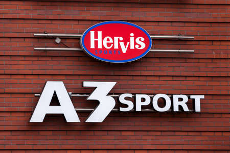 PRAGUE, CZECHIA - NOVEMBER 4, 2019: Hervis Sports and A3 Sport logo in front of their store in Prague. Hervis and A3 are chain of sports retailers, sportswear, gear and fashion. Picture of a sign with the logos of Hervis Sports and A3 Sports taken on thei Editorial