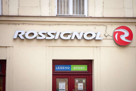 PRAGUE, CZECHIA - NOVEMBER 2, 2019: Skis Rossignol logo in front of their store for Prague.