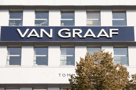 PRAGUE, CZECHIA - OCTOBER 31, 2019: Van Graaf logo in front of their store for Prague. Editorial