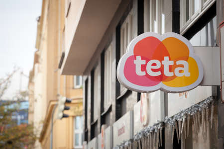 PRAGUE, CZECHIA - NOVEMBER 2, 2019: Teta logo on one of their shops in the center of Prague.