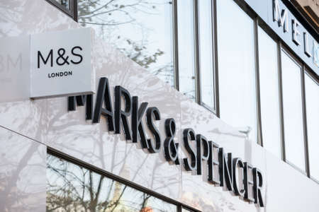PRAGUE, CZECHIA - NOVEMBER 1, 2019: Marks and Spender logo in front of their store for Prague.