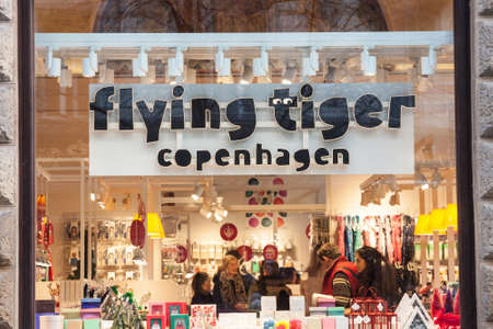 PRAGUE, CZECHIA - NOVEMBER 3, 2019: Flying Tiger Logo in front of their shop for Prague.Copenhagen is a Danish variety store chain.